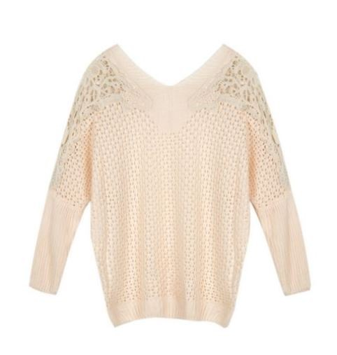 Ivory Crochet Sweater with Contrast Lace Shoulder