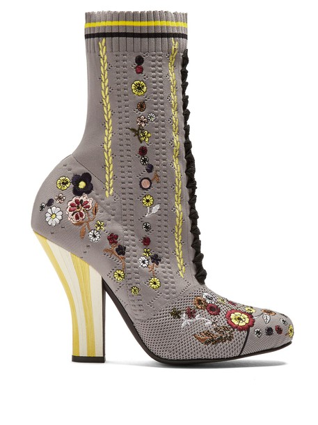 Fendi heel sock boots embroidered floral grey shoes