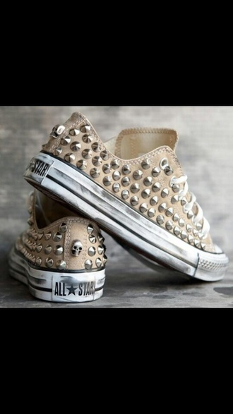 shoes beige chuck taylor all stars studs