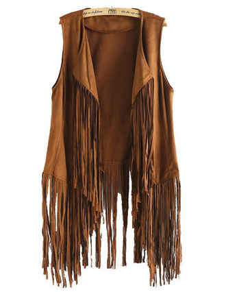 jacket brenda shop 36683 vest fringes tassel brown cowboy trendy faux suede