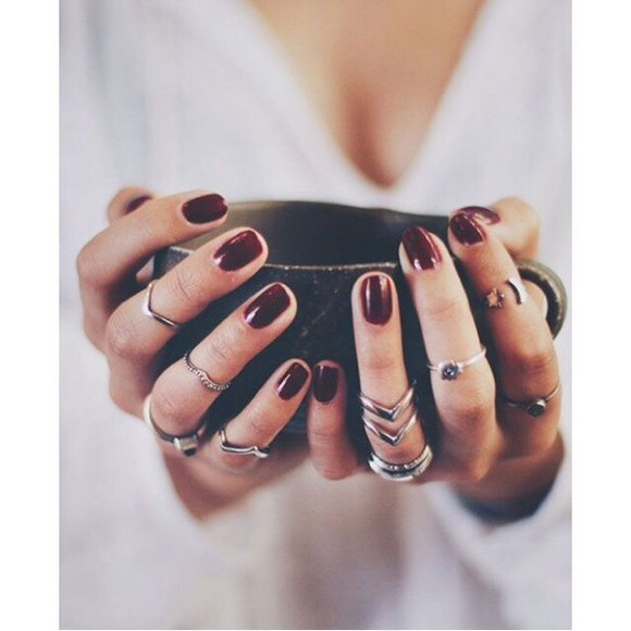 jewels boho silver jewelry ring rings silver rock nails art nail polish red dark red knuckle ring midi finger ring