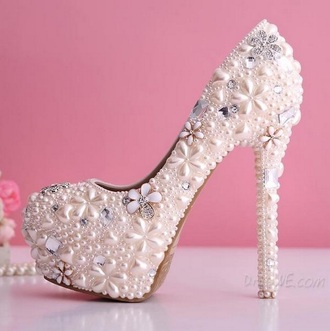 shoes white heels jewels