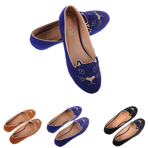 Cute Womens Ladies Cat Face Soft Suede Slip on Ballerina Pumps Loafer Flat Shoes   eBay