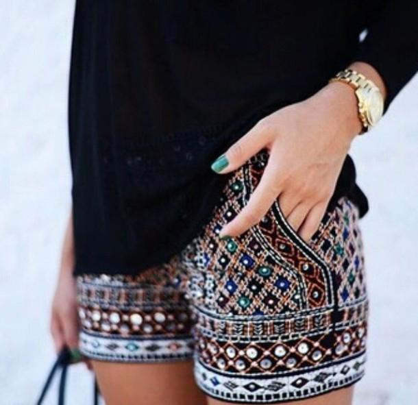 shorts boho jewelled shorts zara