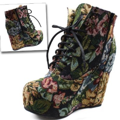 Amazon.com: Vintage Women's Berkeley-05 Floral Laced Up Wedge Heel Ankle Boots: Shoes