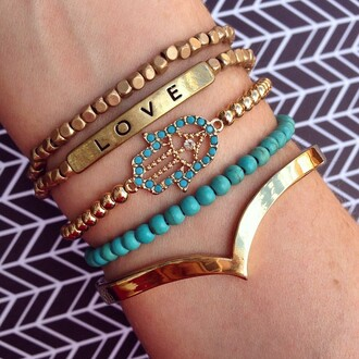 jewels jewel cult jewelry bracelets stacked bracelets love hamsa gold gold bracelet turquoise beaded