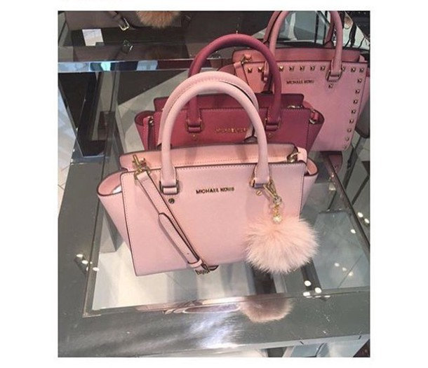 bc2dc671b0e03 bag michael kors pink rose cute girl girly studs three fur gold girly  wishlist red