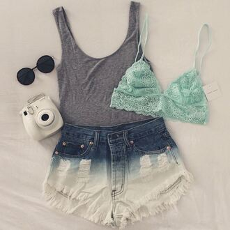 underwear green lace green lace cool cute camera glasses lace lingerie green underwear tank top sunglasses shorts bralette casual gray bodysuit body high waisted shorts forever 21 h&m urban outfitters