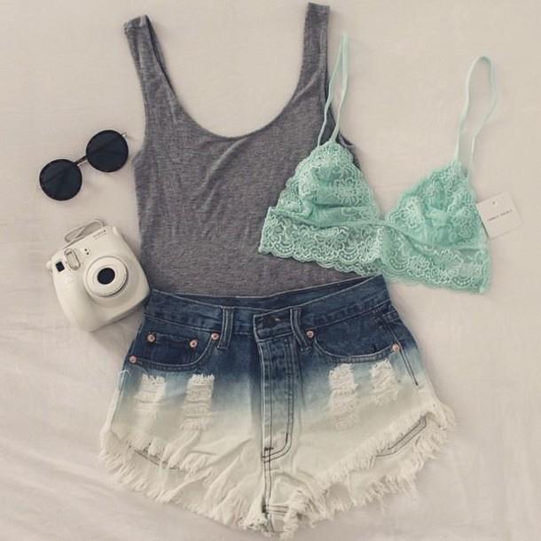 Underwear: green, lace, green lace, cool, cute, camera, glasses ...