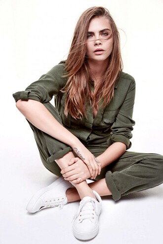jumpsuit cara delevingne sneakers olive green editorial