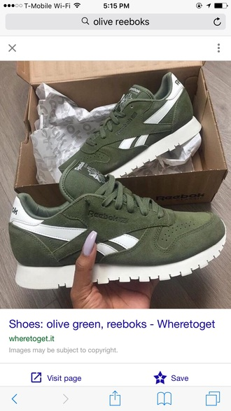 shoes olive green reebok suede