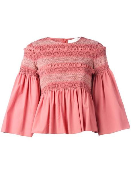 See by Chloe top women cotton purple pink