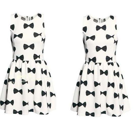 Cute bow print fresh dress