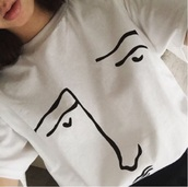 shirt,aesthetic,white,black,sketch,face,grunge,pale,pale grunge,dark pale,sad