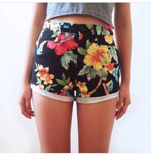 shorts black high waisted shirts hawaiian colorfully
