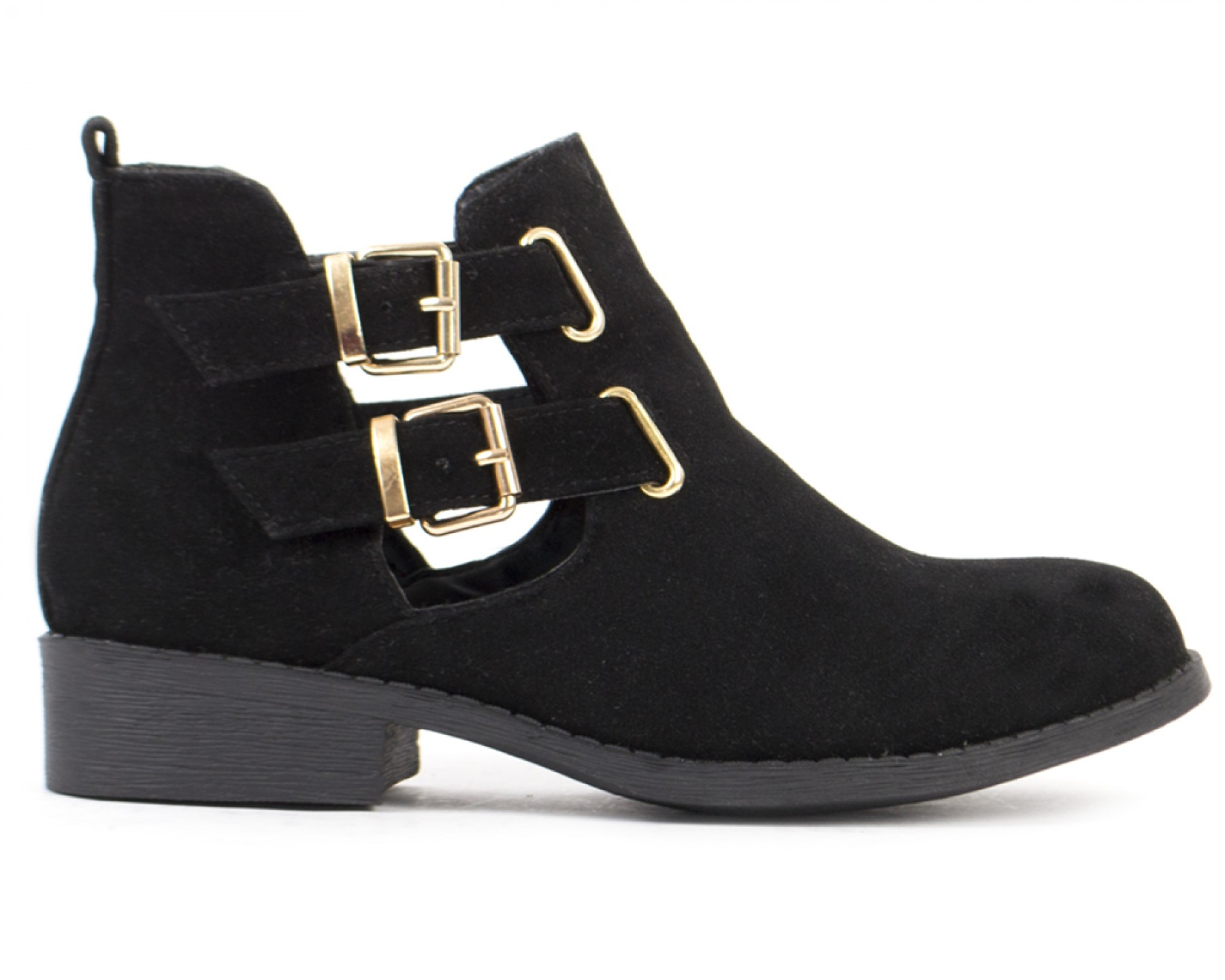 Suede Cut Out Buckled Ankle Boots In Black | Shelikes