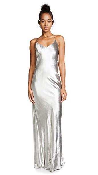 Michelle Mason gown maxi velvet silver dress
