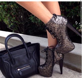 shoes prom shoes high heel booties booties sparkles sequins black black high heel lace up booties high heels bling bag platforms glitter black heels