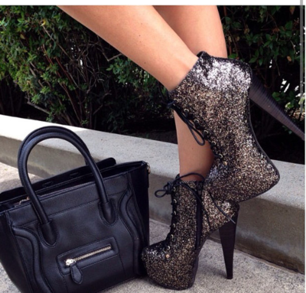 312adcfce4c9 shoes prom shoes high heel booties booties sparkle sequins black black high  heel lace up booties