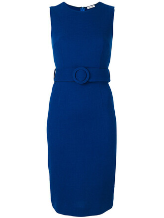 dress belted dress women spandex blue wool