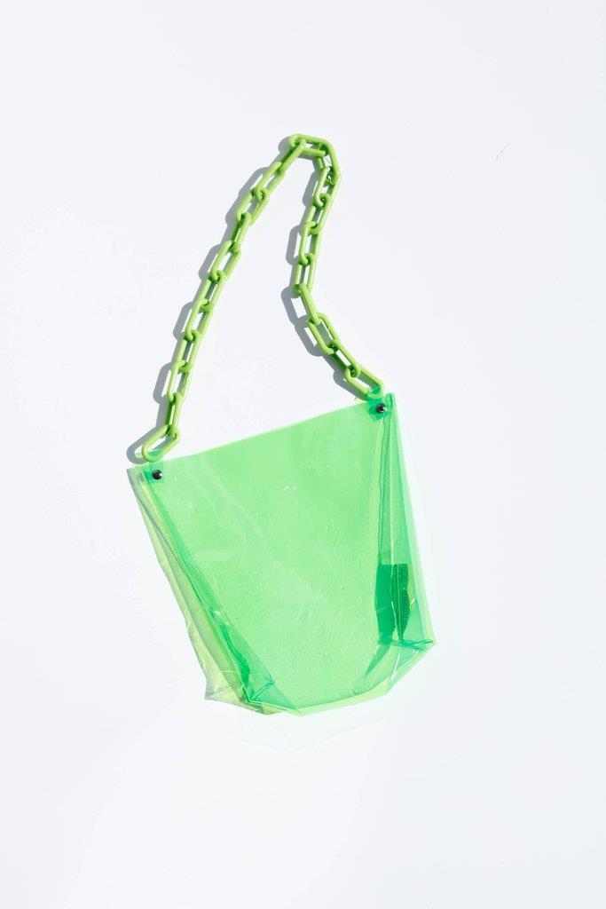 Lana Vinyl Tote - Lime Green