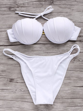 swimwear,white,summer,bikini,fashion,style,beach,hot,shell,mermaid,trendy,zaful