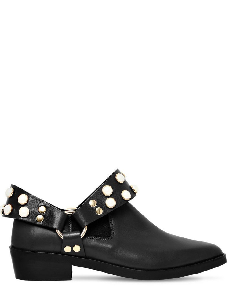 COLIAC 30mm Griet Embellished Leather Boots in black
