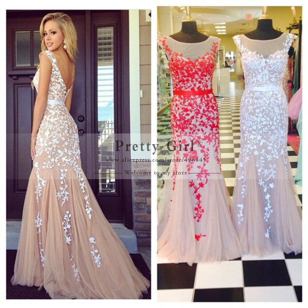 Aliexpress.com : Buy 2015 Abendkleider Long Prom Dresses Sheer Scoop ...