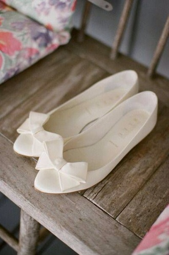shoes flats white ballet flats baby doll shoes bows