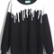 Black long sleeve drop print loose sweatshirt -shein(sheinside)