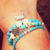 jewels,turquoise jewelry,cute,hamsahand,hamsa charm,beaded,tan,beach,hippie,indie,charms,party,summer,sterling silver