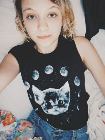 moon cats t-shirt hipster tank top denim