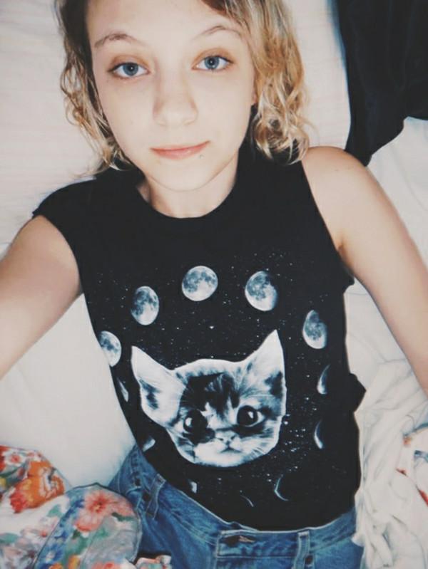 t-shirt moon cats hipster tank top denim