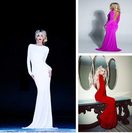 2014 Best Design Sexy Backless Red White Fuchsia Spandex Long Sleeves Evening Dresses Floor Length Prom Dresses 1800-in Evening Dresses from Apparel & Accessories on Aliexpress.com