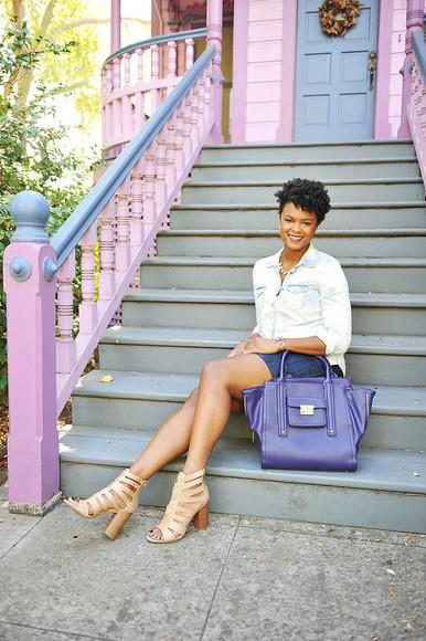 jewels diamonds blogger high heels the lipstick giraffe top bag necklace denim shirt