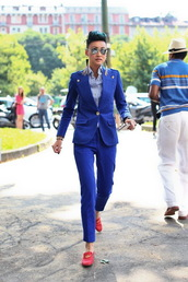 pants,red loafers,power suit,womens suit,blue pants,office outfits,blazer,blue blazer,shirt,striped shirt,loafers,red shoes,shoes,sunglasses,aviator sunglasses,streetstyle,mirrored sunglasses,silver sunglasses,earrings,tassel,statement earrings,two piece pantsuits,matching set