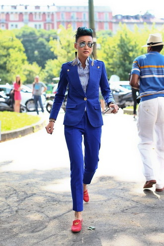 pants red loafers power suit womens suit blue pants office outfits blazer blue blazer shirt striped shirt loafers red shoes shoes sunglasses aviator sunglasses streetstyle mirrored sunglasses silver sunglasses earrings tassel statement earrings two piece pantsuits matching set