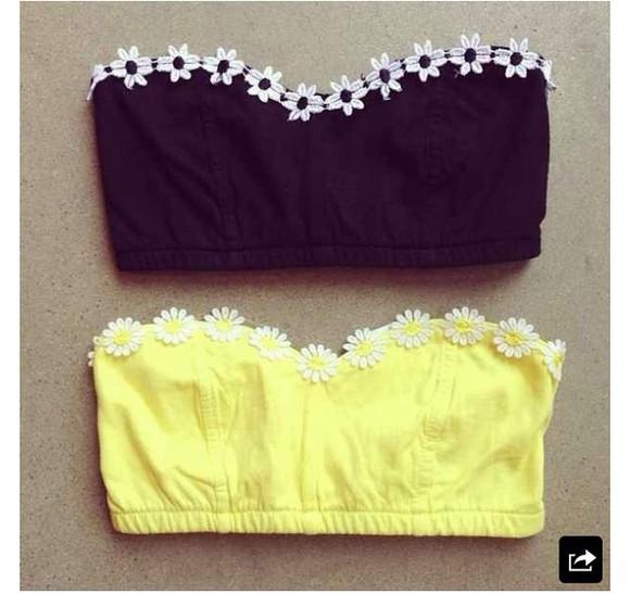 top bandeau swimwear flowers floral