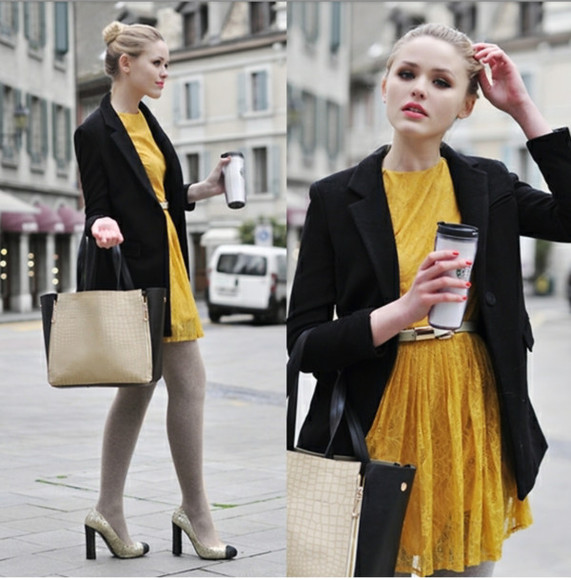 coat black coat dress yellow yellow dress miu miu kristina bazan