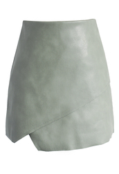 skirt,flipped faux leather midi skirt in stone,chicwish,leather,midi skirt,faux