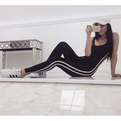 jumpsuit,black,tight,two white stripes,leggings,tights,adidas,adidas tight jumpsuit,black and white tights