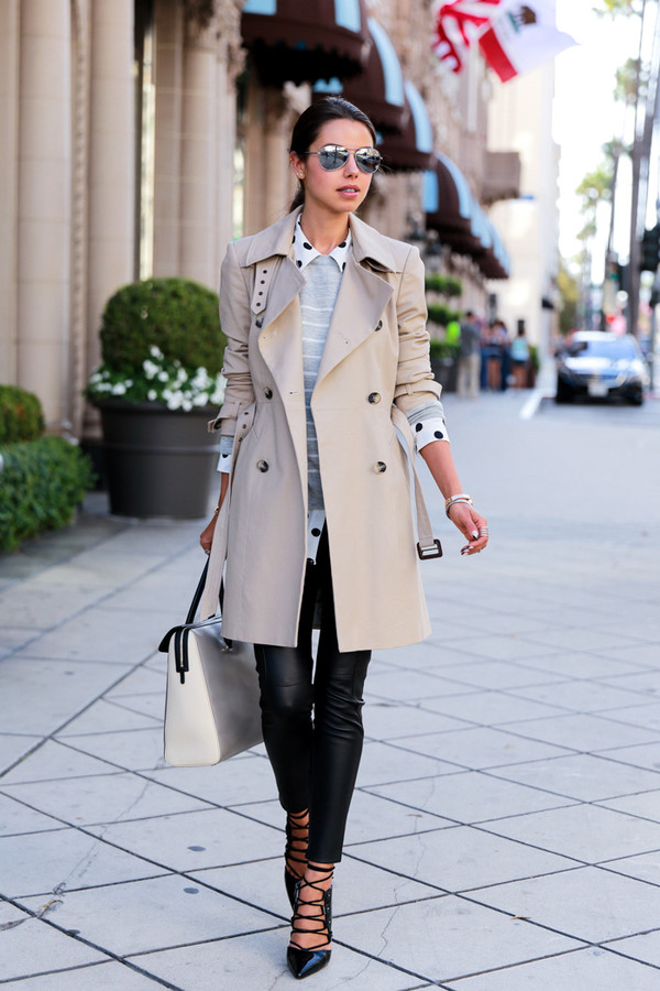 viva luxury blogger jewels bag coat polka dot shirt grey sweater leather pants strappy black heels sunglasses trench coat