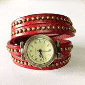 jewels,wrap watch,leather watch,watch,vintage style,studded,red,freeforme,jewelry,accessories