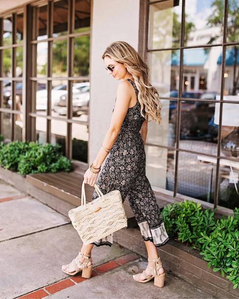 jumpsuit tumblr floral cropped jumpsuit bag nude bag sandals sandal heels high heel sandals shoes