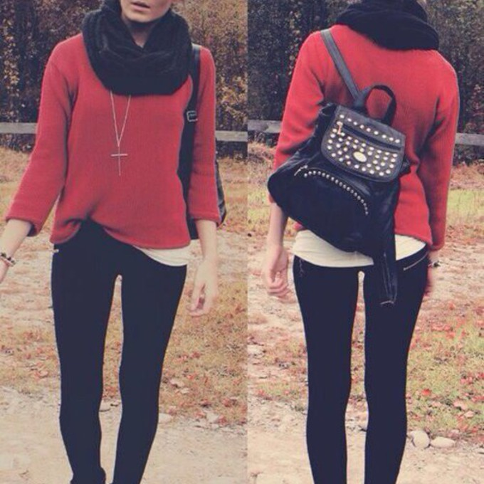 sweater girly scarf red