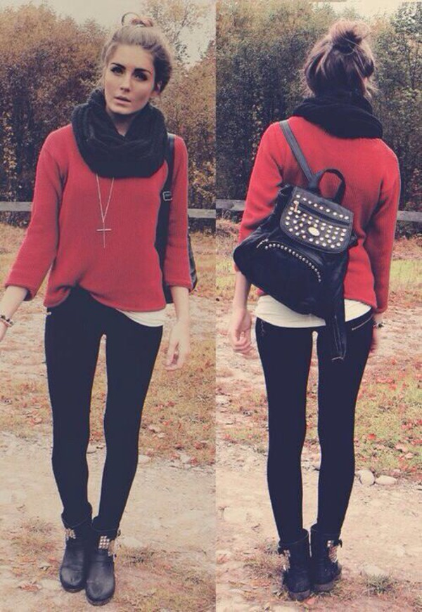 sweater scarf red girly