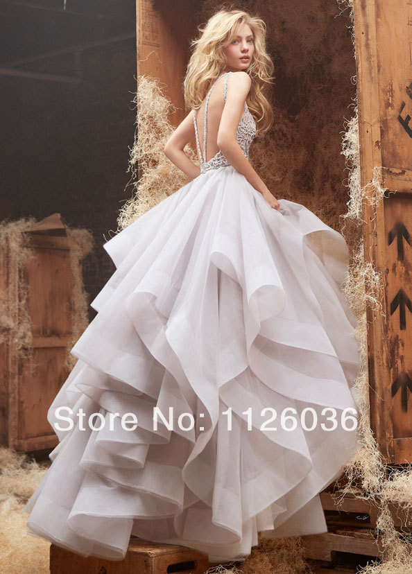 Sexy Custom Hayley Paige Wedding Dress Scoop Neck Sheer Top with Crystals  and Beads Backless Ruffles Tiered Organza ... cae8cd2c4ccc