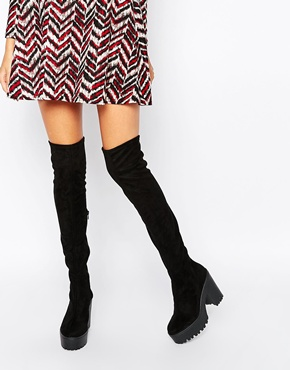 1515254c58c River Island Chunky Sole Over the Knee Boots at asos.com