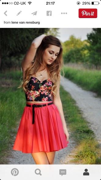 top bralette bralet top black crop top floral flowers crop tops crop top bustier skirt