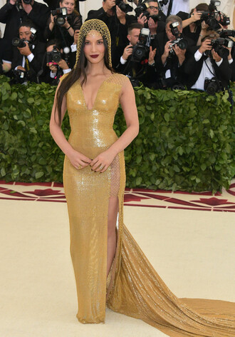 dress gold gold dress red carpet dress met gala met gala 2018 olivia munn slit dress long dress gown prom dress plunge dress pumps shoes